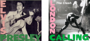 Primeiro álbum de Elvis Presley, de 1956 e a capa do disco do The Clash, de 1979.