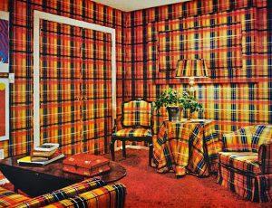 Decoração de sala anos 70 quadriculado